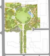 Grange Park transforms an existing underutilized urban open space into an a versatile and verdant neighbourhood park.