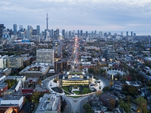Aerial view looking south showing Spadina Circle re-situated within the campus and the city.  Image Credit Michael Muraz