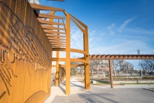 The MLCC Heritage Wall co-developed by Cohlmeyer Architecture, HTFC and Pattern Interactive, provides an engaging focal point for the park.
