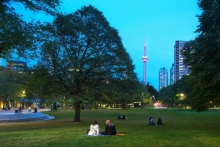 The gently regraded central lawn and existing trees provide framed views to downtown and the CN Tower.