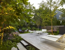 Lush plantings frame functional spaces in which to entertain and relax.
