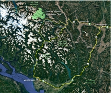 The park lies 150km north of Whistler and 95km west of Lillooet with access from Pemberton BC.