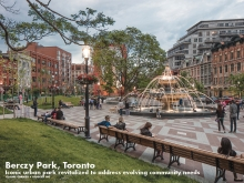 The playful fountain and long benches enhance the Old Town context, inviting spontaneous exchange between strangers.