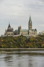 View of Parliament Hill and stairway from north shore of Ottawa River