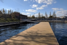 A floating dock offers waterfront access at the north entrance of the park. The accessible washroom building adjacent.