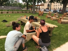 The consultant team were challenged to create a park that relates history in a way that is engaging and accessible to a younger generation, such as these design students exploring the fort's resource extraction heritage.