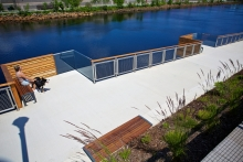 Lookoff Pods extend from the ramp providing smaller breakaway spaces with uninterrupted views of the river