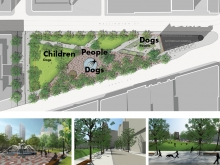 Families wanted a place for childrens play; the BIA wanted an Old Town brand for tourists, businesses, and the lunchtime crowd; dog owners wanted a dog park. The fountain consolidates these 3 functions into a coherent and singular place.