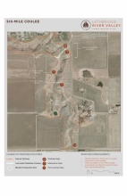 Site level plan for Six Mile Coulee, pathway planning to mitigate impacts of use on the native riparian coulee system.