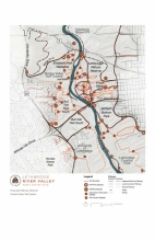 Detailed pathway network describes access, signage and wayfinding strategies throughout the river valley.