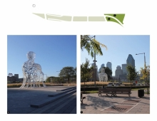 The southern portion of the park is the threshold into the city, a transition from the expressway to boulevard, where a long densely vegetated area is covered in tall ornamental grasses reminiscent of the industrial past of the hay market all the way to the edge of the sculpture. The dog park and sitting area allow a connection in the adjacent neighborhood.