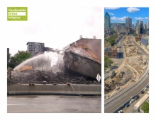 100 % of the Expressway structure was recovered or reused in adjacent construction sites and 30 % of the contaminated soils found under the structure were revalued on site.
