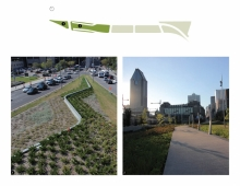 Connecting with the downtown core, the space is defined by a densely vegetated area at one of the extremities of the unifying gesture and sculptures, the latter being the starting or endpoint of an elevated experiential walkway along the infiltration gardens.